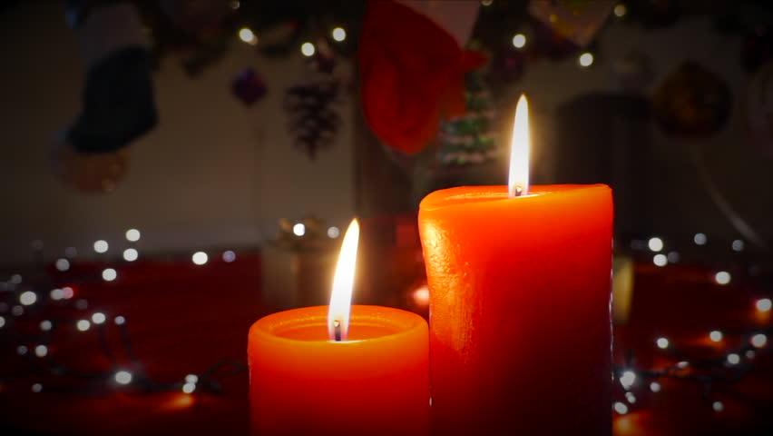 christmas candles with white christmas lights hd stock video clip - Candle Christmas Lights