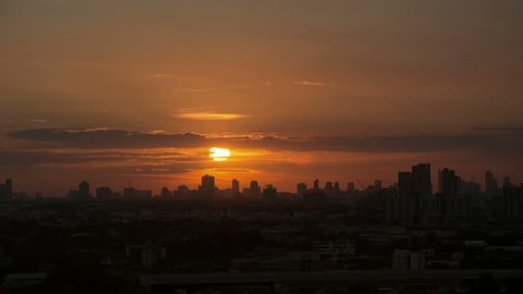 Dawn to morning sunrise time lapse in far city background - Bangkok, Thailand