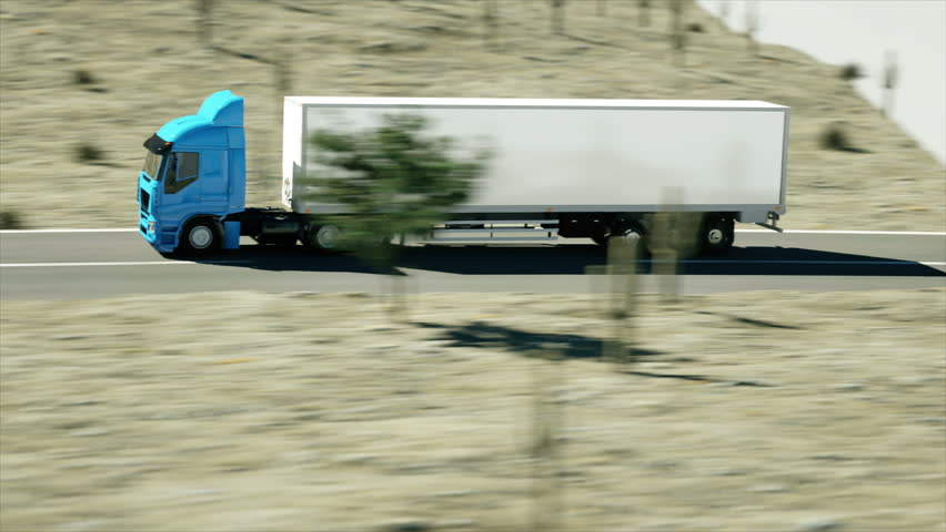 Truck on the road, highway. Transports, logistics concept. super realistic animation with physiks motion.