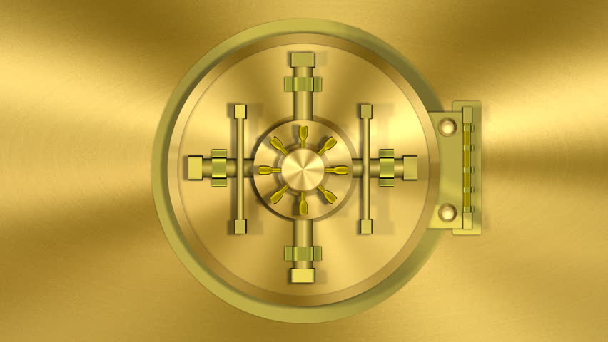 Bank Vault Door Gold Transition (HD). 1080p formated transition of a bank vault opening and camera following inside