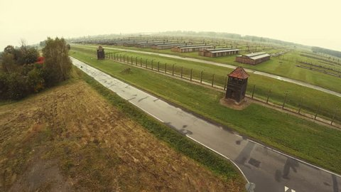 Death Camp in Auschwitz Birkenau, Poland. Aerial view of the concentration camp