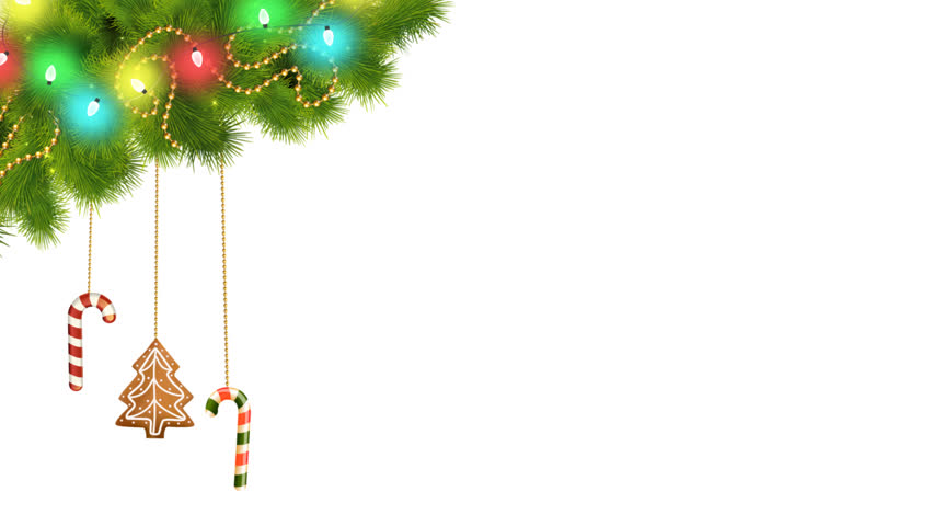 Christmas Decorations And Toys On A Rope Hanging From A Tree  With Glowing Garland Lights Xmas Holiday Card Design Template With Alpha Chanel