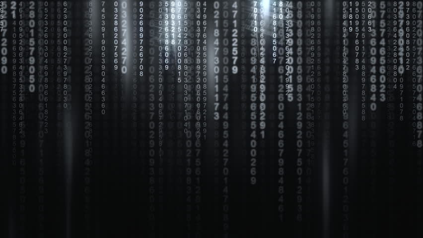 Random numbers falling down (code rain) with ghostly shadows: a popular sci-fi movie effect; obscure technology; computer source code, hacking.