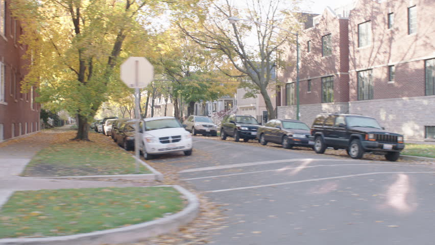 Day process plates 90 passenger sides driving eastern residential street, some house have Halloween decorationsautumn (Nov 2013)   Shutterstock HD Video #21568633