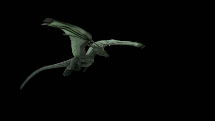 Animated realistic Dragon flying and breathing fire. Seamless loop with alpha channel.