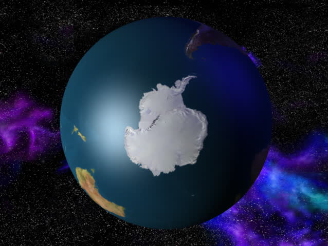 Computer-generated 3D animation loop depicting the spinning Earth (Antarctic view)