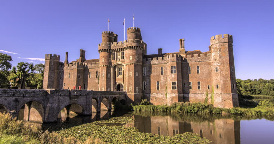 Time Lapse View Of A Moated Brick Castle In Southern England