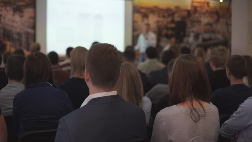 The audience listens to the acting in a conference hall | Shutterstock HD Video #21601105
