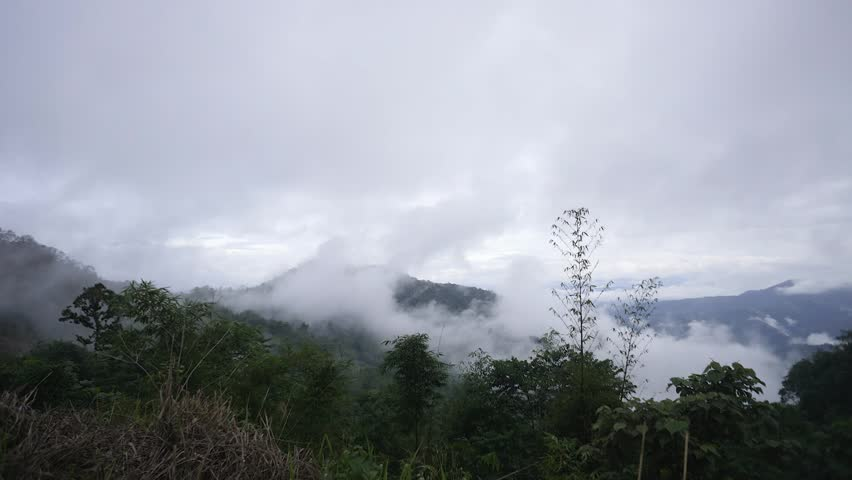 Time lapse of mist over hilly landscape valley of beautiful Sabah Malaysian Borneo.