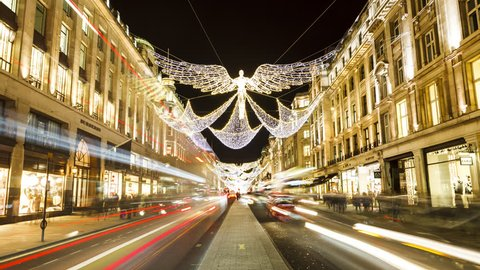 London, UK - 23.11.2016: Regent Street London Hyperlapse Time-Lapse, night, Christmas decoration. Long shutter speed, wide angle.