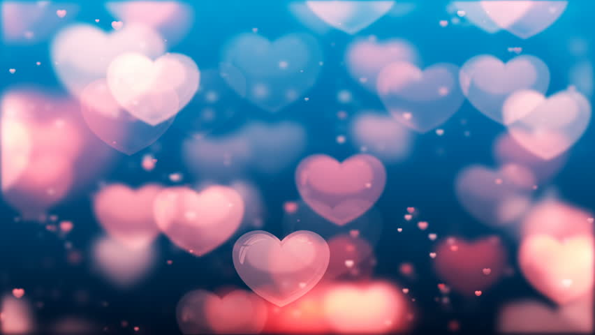 Shining Heart Shapes Loopable Love Background Stock
