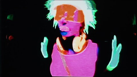 sexy female disco gogo dancer poses in UV costume. this version has been distorted with video glitches and effects
