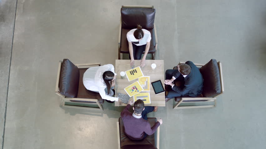 High angle view on business meeting in office lobby | Shutterstock HD Video #21666118