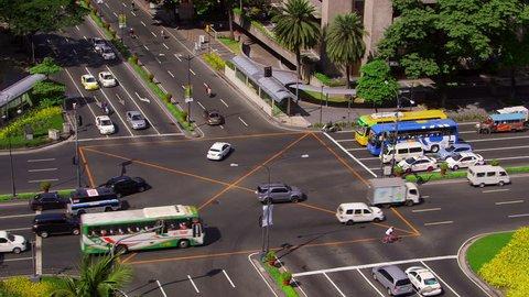 Traffic On Makati Avenue & Ayala Avenue Road Junction; Manila Philippines Asia