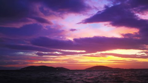 Timelapse of dramatic sunset over islands in Istanbul