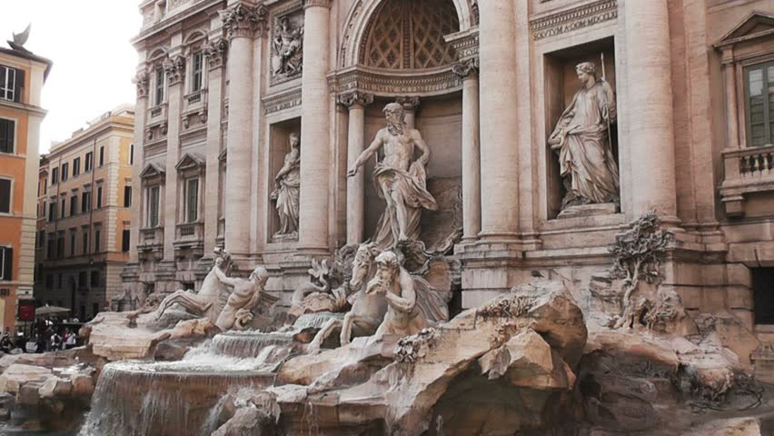Trevi's Fountain, Rome, ZOOM OUT CAMERA, Italy, Real Time, 4k  | Shutterstock HD Video #21728683