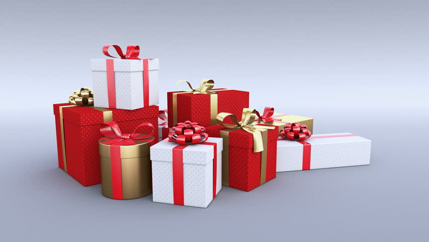 Gift Boxes. White Background, 4 In 1 Stock Footage Video