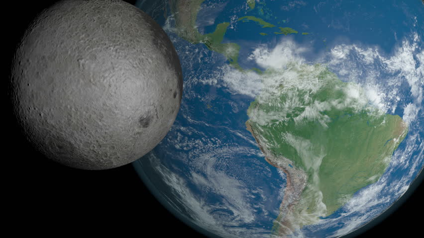 Total solar eclipse. Moon's shadow crossing the Earth's surface over America.