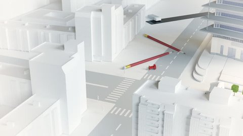 camera fly cross architectural model