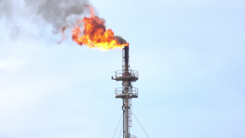 Oil Refinery Gas Flare Stock Footage Video 5408876