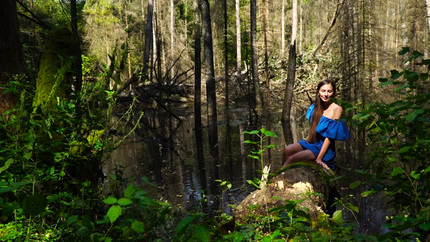 Sexy Girl Leaning Huge Tree In Rainforest Background -7588