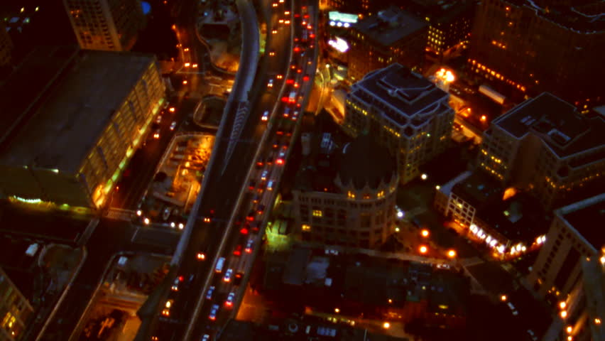 Boston, MA - CIRCA 2003 - Aerial view of highway traffic in Boston