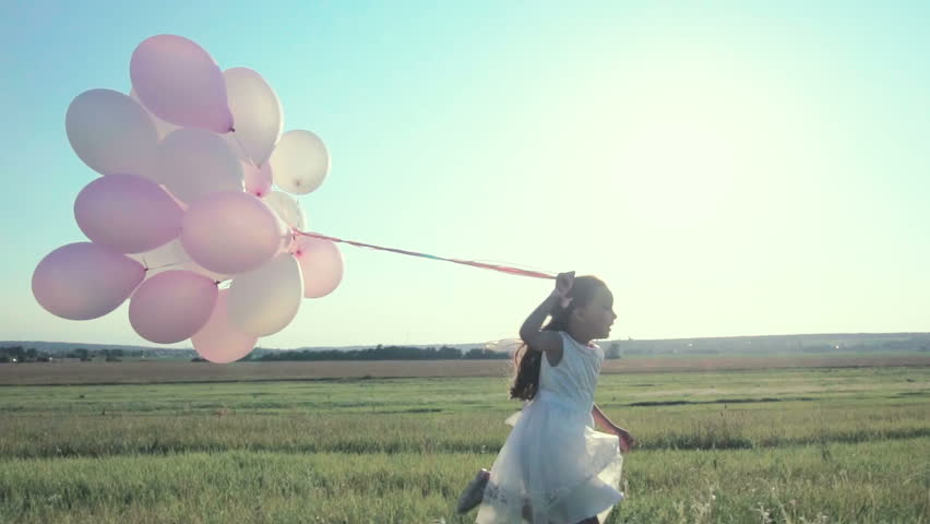 Happy girl with balloons outdoors | Shutterstock HD Video #21952522