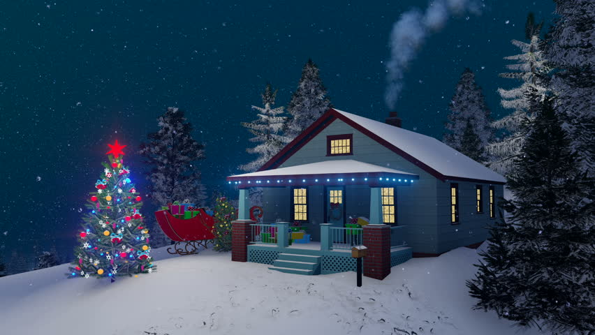traditional american house with gift boxes on its porch christmas lights smoking chimney and outdoor decorated christmas tree at snowfall winter night - Snowfall Christmas Lights