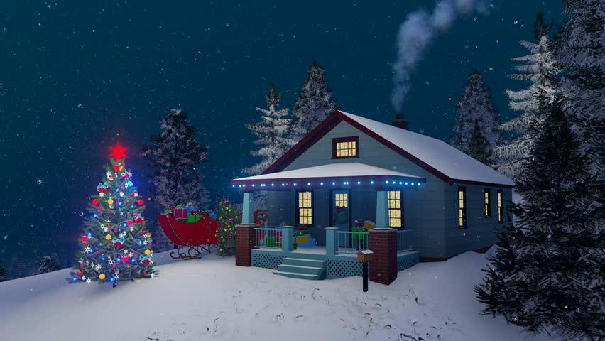 Dreamlike Winter Scene Illuminated Christmas Tree And