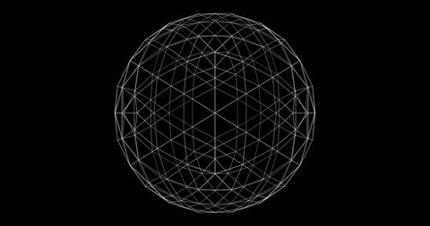 Plexus style loop rotate sphere animation cycle. White dots and Lines on the alpha transparent background