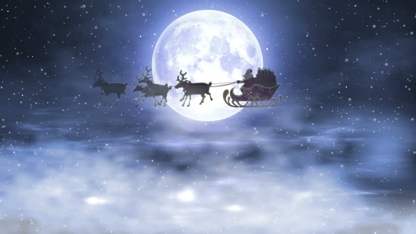 Santa Riding His Sleigh On The Background Of The Night Moon | Shutterstock HD Video #22024198