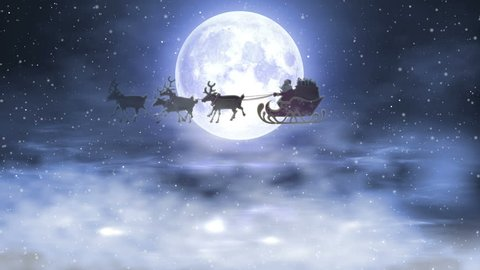 Santa Riding His Sleigh On The Background Of The Night Moon