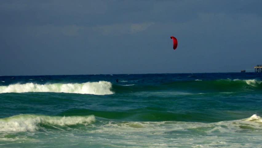Kite Surfing in a stormy sea, south of Israel, 60p, colour graded