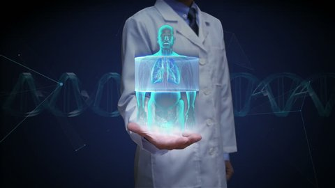 Doctor open palm, Scanning body. Rotating Human lungs, Pulmonary Diagnostics. Blue X-ray light.