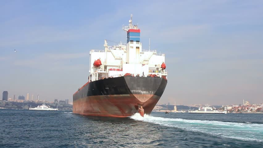Oil tanker ship on route to Black Sea. Back view of the large tanker ship