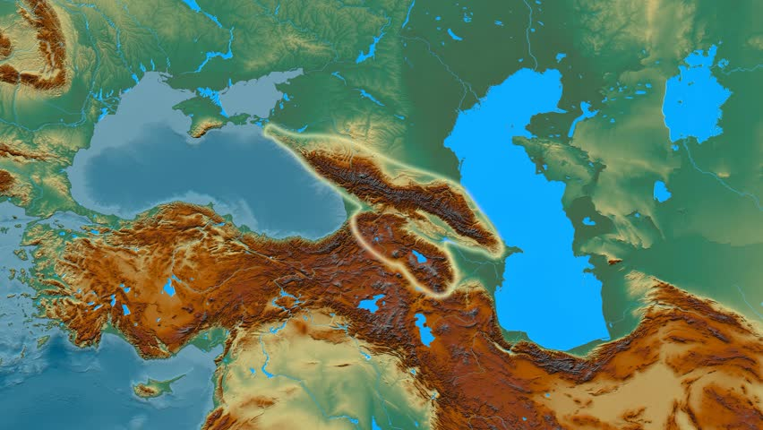 Zoom Into Caucasus Mountain Range Masks Relief Map High - Aster gdem free download