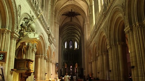 BAYEUX, FRANCE - JULY 22, 2016- Inside the Bayeux Cathedral, built in 1077 under the rule of William the Conqueror, Duke of Normandy and King of England.