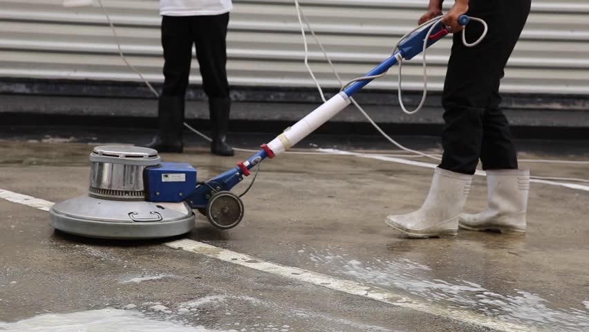 Delightful Exterior Concrete Floor Cleaning With Polishing Machine And Chemical   HD  Stock Footage Clip