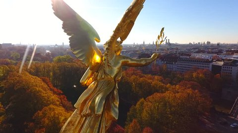 The Friedensengel is a sculpture on the Isarhochufer in Munich Bogenhausen at a height of about 34m.