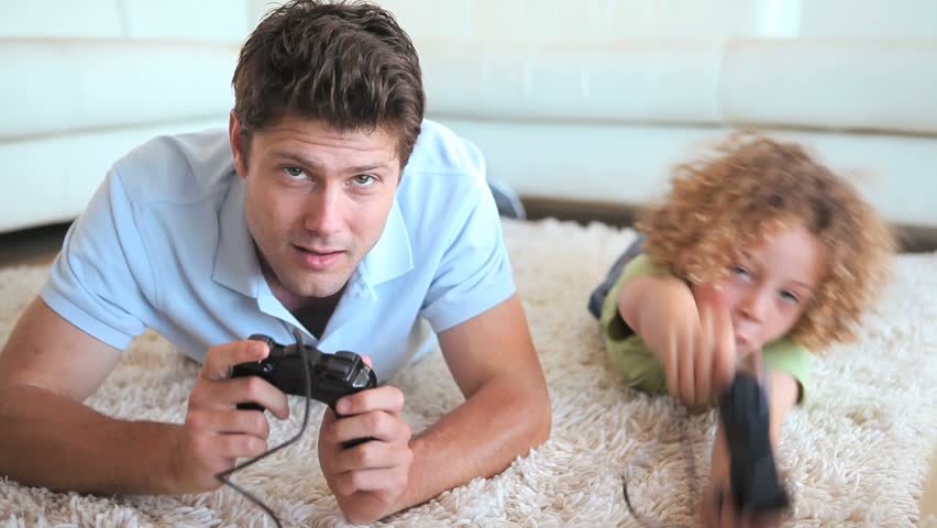 Father And Son Playing Video Stock Footage Video 100 Royalty Free