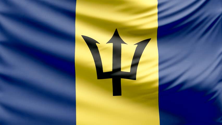 Realistic Beautiful Barbados Flag Looping Stock Footage