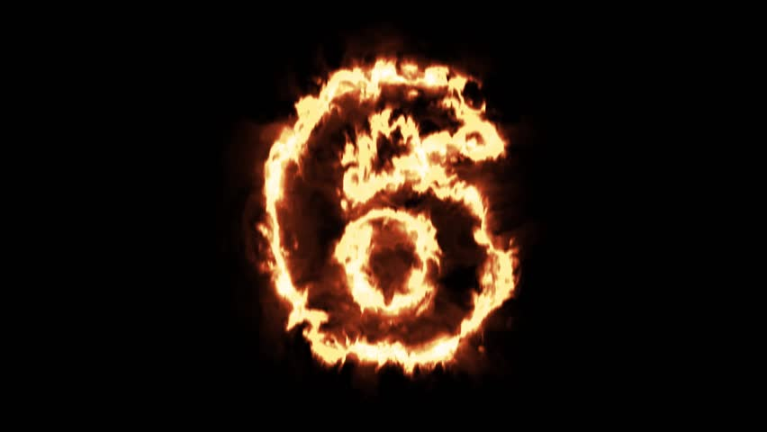Burning Numbers 3,fire On Black Background. Stock Footage Video ...