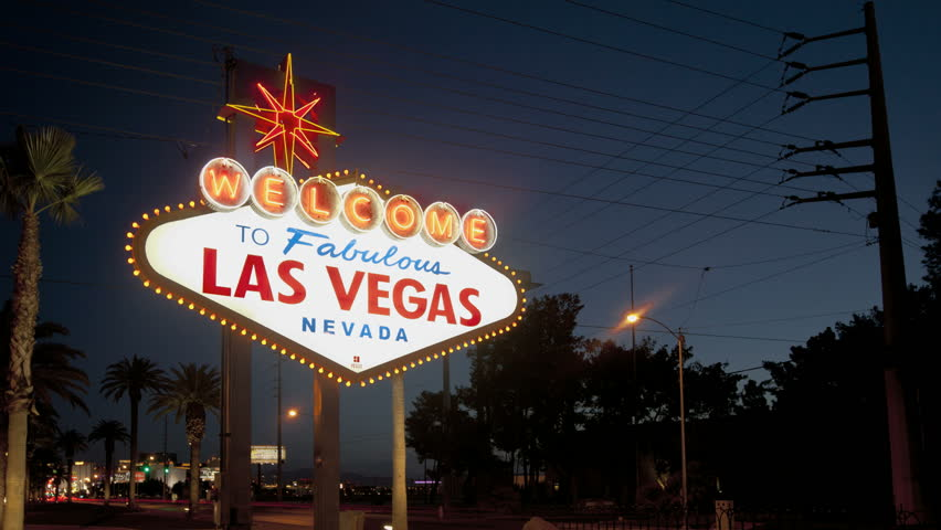 LAS VEGAS - MARCH 1: Timelapse of the sunrise at the famous Las Vegas Welcome-Sign on March 1, 2012 in Las Vegas, Nevada. | Shutterstock HD Video #2222938