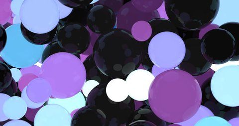 3d animation. Flashing light. Dynamic colored balls. The reflections on the subjects. Blow balls. Contact. Glowing balls. Glossy objects. Black glossy color. Pink reflexes. Colored reflections.