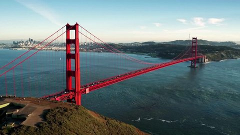 Aerial view of Golden Gate Bridge and San Francisco skyline 3