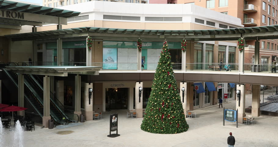 SALT LAKE CITY, UTAH - DEC 2016: Urban city shopping center mall Christmas Tree. City Creek Center across from Temple Square. Owned by LDS Church. World class shopping. Family destination. | Shutterstock HD Video #22248388