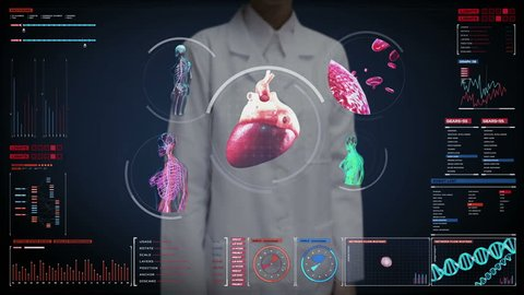 Female doctor touching digital screen, scanning blood vessel, lymphatic, heart, circulatory system in digital display. Blue X-ray view.