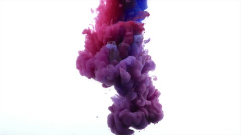 Red and blue colors paint cloud on a white background.