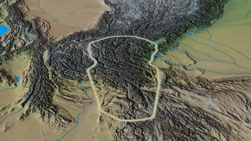 Revolution around Hindu Kush mountain range - glowed. Natural Earth. High resolution ASTER GDEM