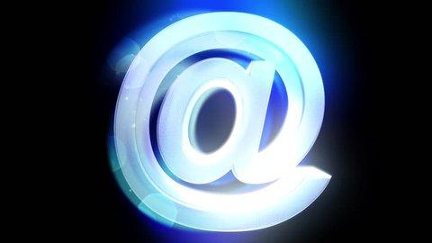 At sign symbol rotate email internet web social network e-mail digital loop  4k
